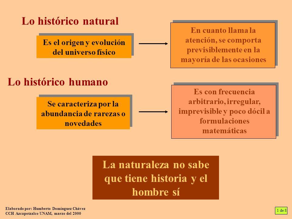Lo histórico natural Es el origen y evolución del universo físico En cuanto llama la atención, se comporta previsiblemente en la mayoría de las ocasio