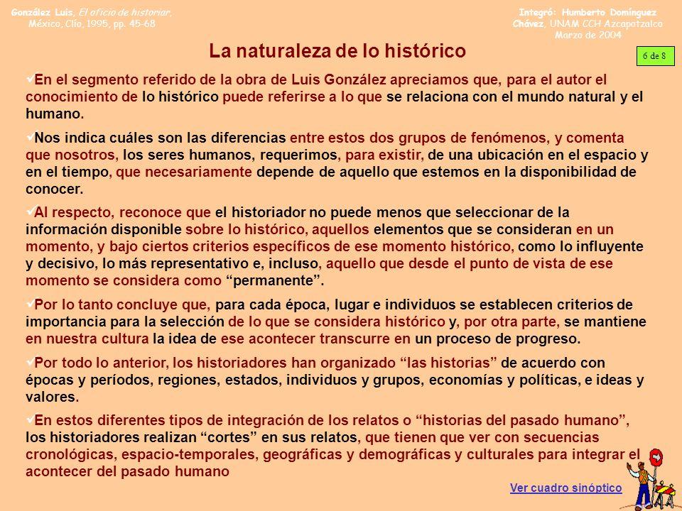 González Luis, El oficio de historiar, México, Clío, 1995, pp. 45-68 Integró: Humberto Domínguez Chávez, UNAM CCH Azcapotzalco Marzo de 2004 La natura