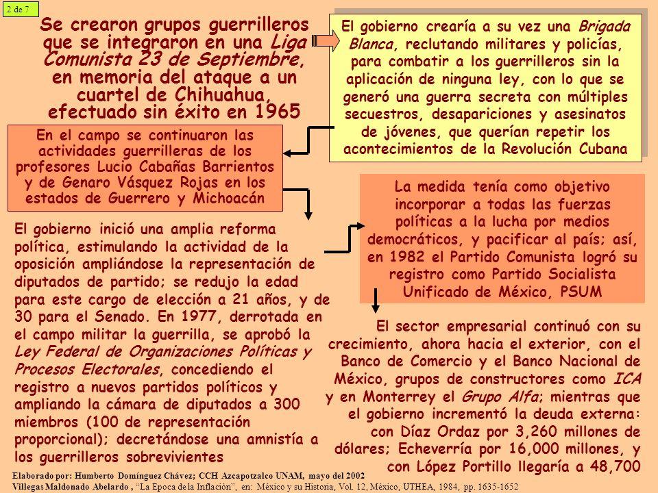 Se crearon grupos guerrilleros que se integraron en una Liga Comunista 23 de Septiembre, en memoria del ataque a un cuartel de Chihuahua, efectuado sin éxito en 1965 El gobierno crearía a su vez una Brigada Blanca, reclutando militares y policías, para combatir a los guerrilleros sin la aplicación de ninguna ley, con lo que se generó una guerra secreta con múltiples secuestros, desapariciones y asesinatos de jóvenes, que querían repetir los acontecimientos de la Revolución Cubana En el campo se continuaron las actividades guerrilleras de los profesores Lucio Cabañas Barrientos y de Genaro Vásquez Rojas en los estados de Guerrero y Michoacán El gobierno inició una amplia reforma política, estimulando la actividad de la oposición ampliándose la representación de diputados de partido; se redujo la edad para este cargo de elección a 21 años, y de 30 para el Senado.