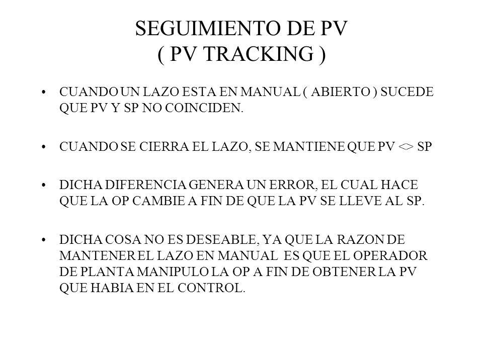 SEGUIMIENTO DE PV ( PV TRACKING ) CUANDO UN LAZO ESTA EN MANUAL ( ABIERTO ) SUCEDE QUE PV Y SP NO COINCIDEN. CUANDO SE CIERRA EL LAZO, SE MANTIENE QUE