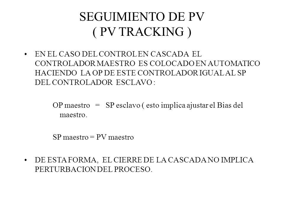SEGUIMIENTO DE PV ( PV TRACKING ) EN EL CASO DEL CONTROL EN CASCADA EL CONTROLADOR MAESTRO ES COLOCADO EN AUTOMATICO HACIENDO LA OP DE ESTE CONTROLADO