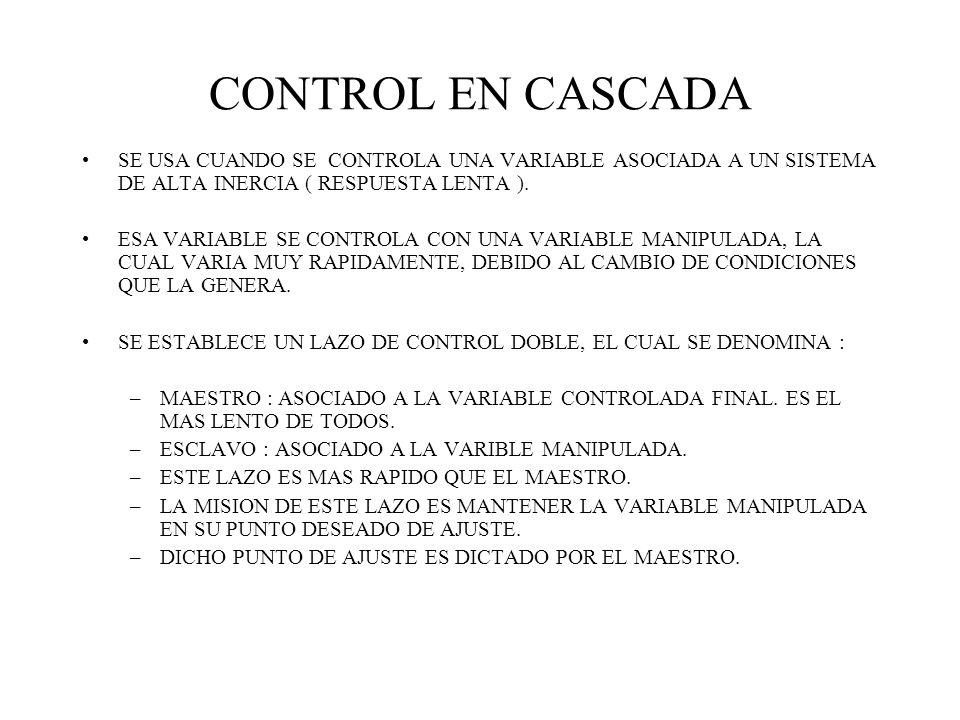 CONTROL EN CASCADA SE USA CUANDO SE CONTROLA UNA VARIABLE ASOCIADA A UN SISTEMA DE ALTA INERCIA ( RESPUESTA LENTA ). ESA VARIABLE SE CONTROLA CON UNA