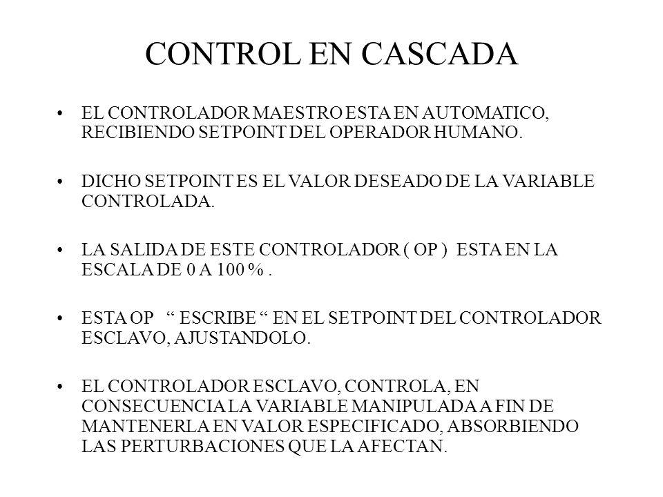 CONTROL EN CASCADA EL CONTROLADOR MAESTRO ESTA EN AUTOMATICO, RECIBIENDO SETPOINT DEL OPERADOR HUMANO. DICHO SETPOINT ES EL VALOR DESEADO DE LA VARIAB