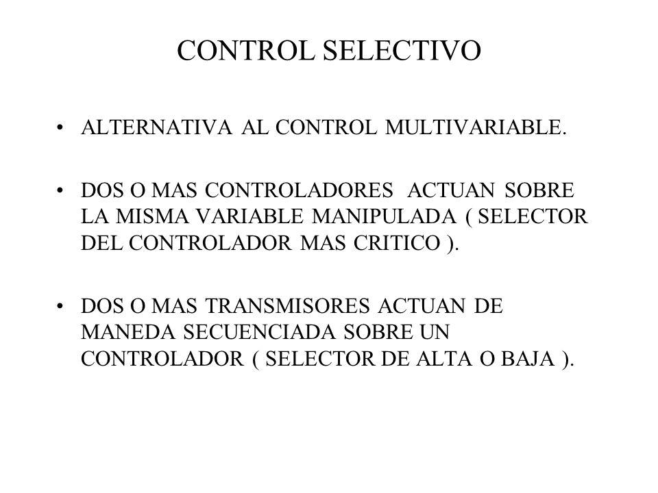 CONTROL SELECTIVO ALTERNATIVA AL CONTROL MULTIVARIABLE. DOS O MAS CONTROLADORES ACTUAN SOBRE LA MISMA VARIABLE MANIPULADA ( SELECTOR DEL CONTROLADOR M