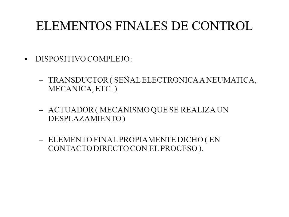 ELEMENTOS FINALES DE CONTROL DISPOSITIVO COMPLEJO : –TRANSDUCTOR ( SEÑAL ELECTRONICA A NEUMATICA, MECANICA, ETC. ) –ACTUADOR ( MECANISMO QUE SE REALIZ