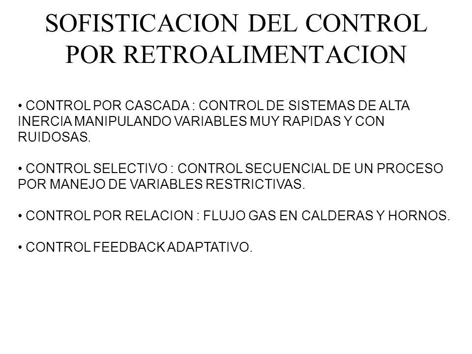 SOFISTICACION DEL CONTROL POR RETROALIMENTACION CONTROL POR CASCADA : CONTROL DE SISTEMAS DE ALTA INERCIA MANIPULANDO VARIABLES MUY RAPIDAS Y CON RUID
