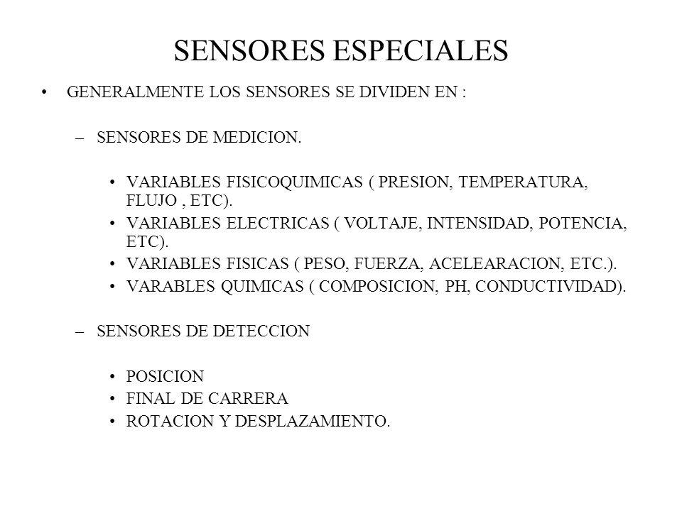 SENSORES ESPECIALES GENERALMENTE LOS SENSORES SE DIVIDEN EN : –SENSORES DE MEDICION. VARIABLES FISICOQUIMICAS ( PRESION, TEMPERATURA, FLUJO, ETC). VAR