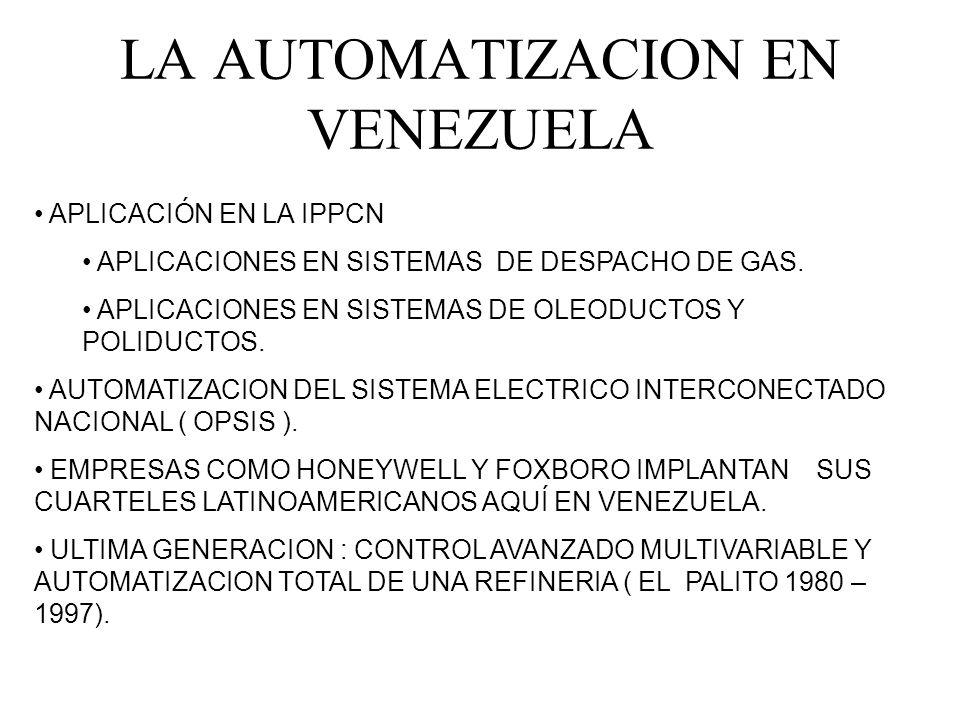 LA AUTOMATIZACION EN VENEZUELA APLICACIÓN EN LA IPPCN APLICACIONES EN SISTEMAS DE DESPACHO DE GAS. APLICACIONES EN SISTEMAS DE OLEODUCTOS Y POLIDUCTOS