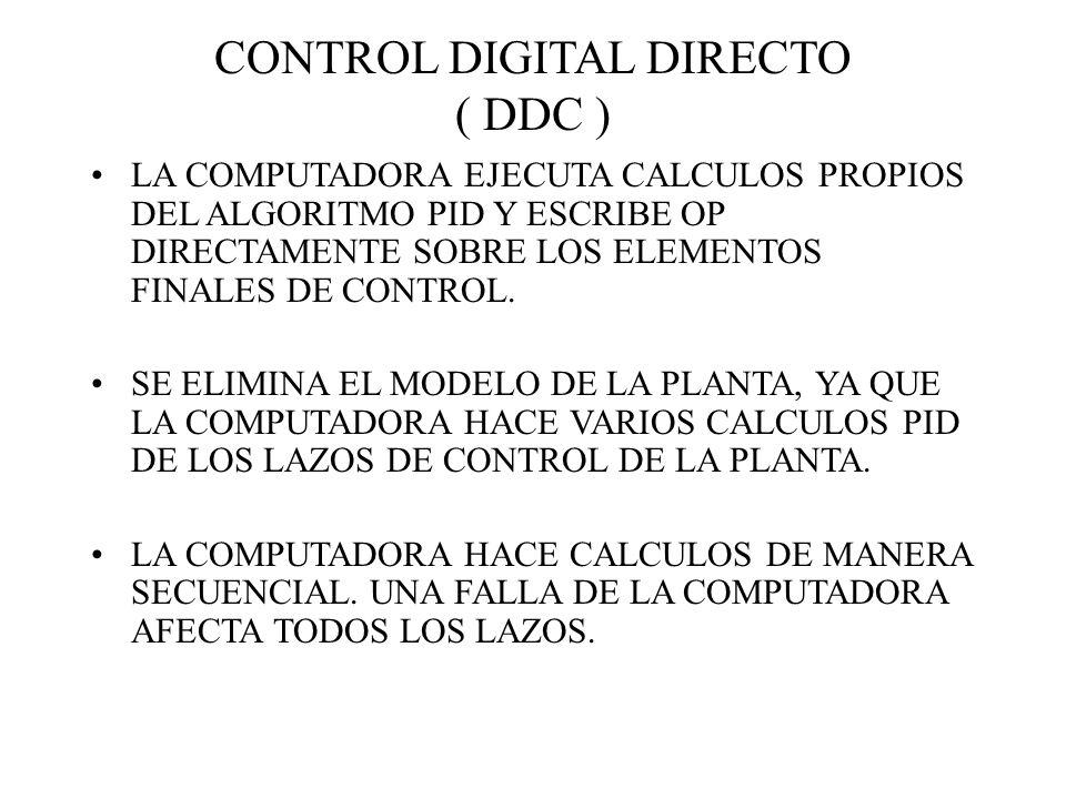 CONTROL DIGITAL DIRECTO ( DDC ) LA COMPUTADORA EJECUTA CALCULOS PROPIOS DEL ALGORITMO PID Y ESCRIBE OP DIRECTAMENTE SOBRE LOS ELEMENTOS FINALES DE CON