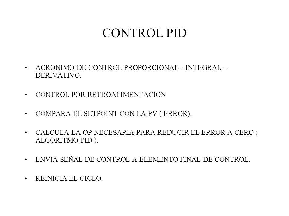 CONTROL PID ACRONIMO DE CONTROL PROPORCIONAL - INTEGRAL – DERIVATIVO. CONTROL POR RETROALIMENTACION COMPARA EL SETPOINT CON LA PV ( ERROR). CALCULA LA