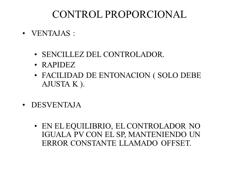 CONTROL PROPORCIONAL VENTAJAS : SENCILLEZ DEL CONTROLADOR. RAPIDEZ FACILIDAD DE ENTONACION ( SOLO DEBE AJUSTA K ). DESVENTAJA EN EL EQUILIBRIO, EL CON