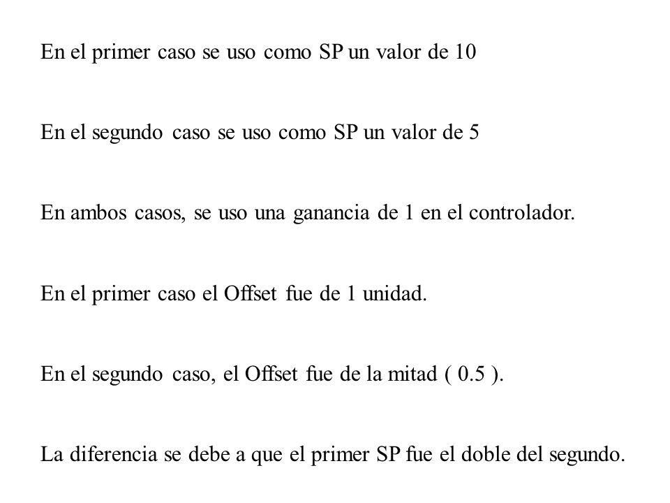 En el primer caso se uso como SP un valor de 10 En el segundo caso se uso como SP un valor de 5 En ambos casos, se uso una ganancia de 1 en el control