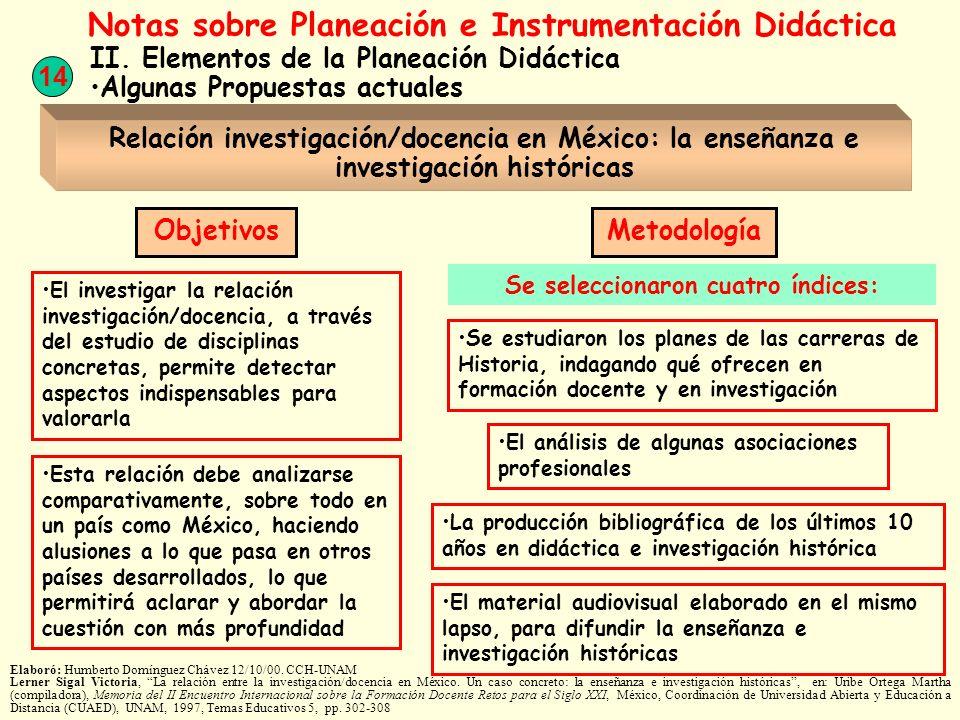 14 Notas sobre Planeación e Instrumentación Didáctica II. Elementos de la Planeación Didáctica Algunas Propuestas actuales Relación investigación/doce