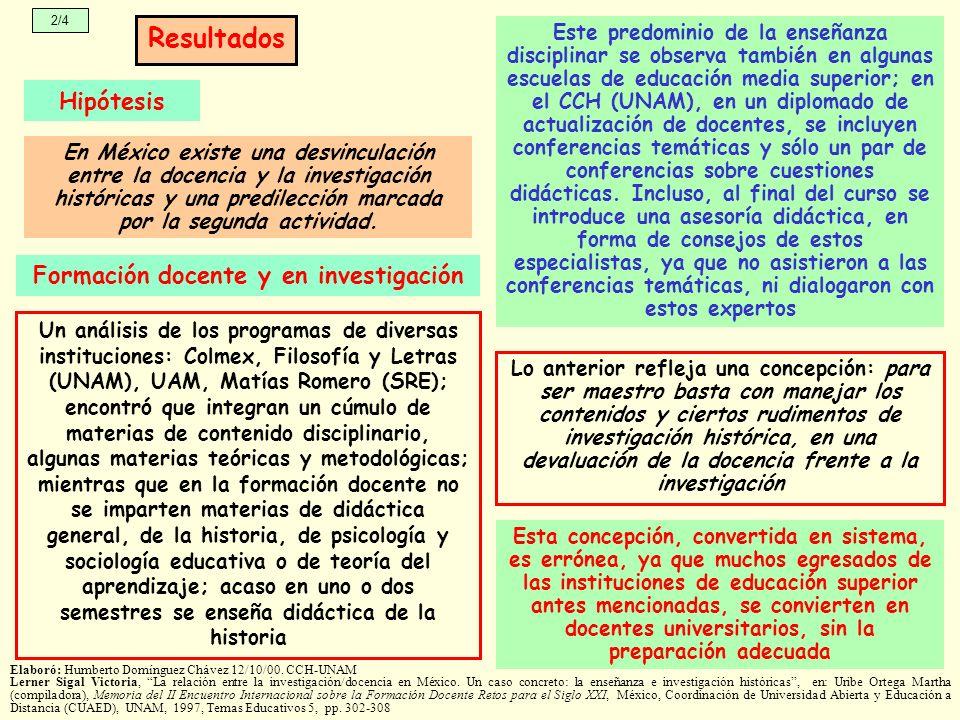 En México existe una desvinculación entre la docencia y la investigación históricas y una predilección marcada por la segunda actividad. 2/4 Resultado