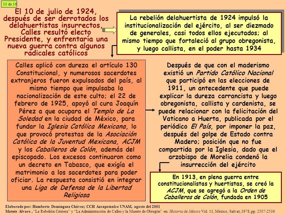 Elaborado por: Humberto Domínguez Chávez; CCH Azcapotzalco UNAM, agosto del 2001 Matute Alvaro, La Rebelión Cristera y La Administración de Calles y l
