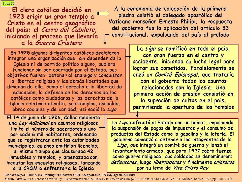 El clero católico decidió en 1923 erigir un gran templo a Cristo en el centro geográfico del país: el Cerro del Cubilete; iniciando el proceso que lle