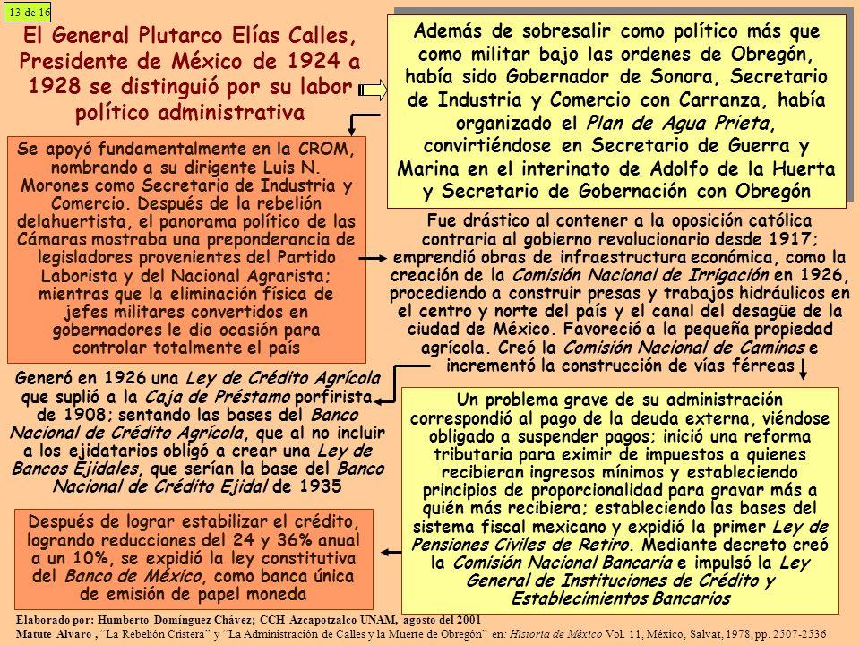 El General Plutarco Elías Calles, Presidente de México de 1924 a 1928 se distinguió por su labor político administrativa Se apoyó fundamentalmente en