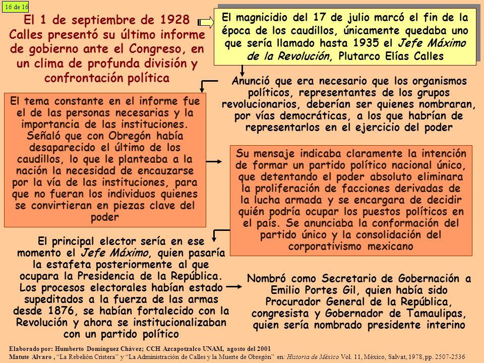 El 1 de septiembre de 1928 Calles presentó su último informe de gobierno ante el Congreso, en un clima de profunda división y confrontación política E