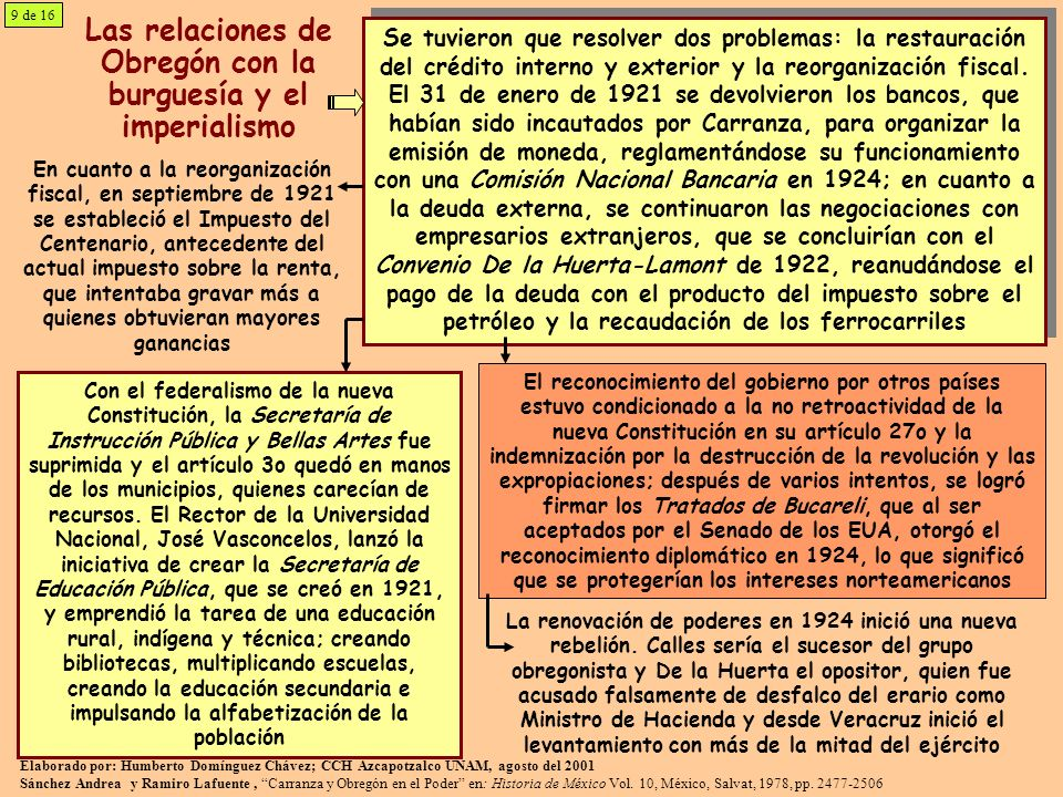 Las relaciones de Obregón con la burguesía y el imperialismo Se tuvieron que resolver dos problemas: la restauración del crédito interno y exterior y