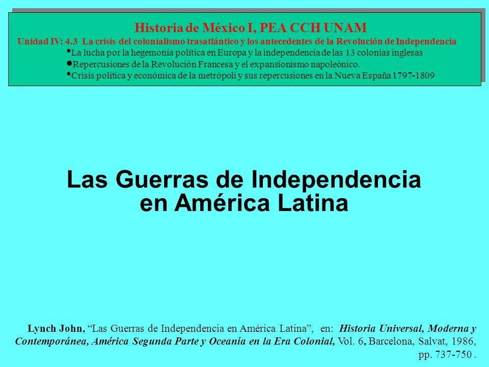 Los movimientos en el continente La independencia de la América española se extendió por el subcontinente mediante dos movimientos violentos: la revolución del sur avanzó desde Buenos Aires a las pampas, y el ejército de los Andes, conducido por San Martín, la llevó a Chile y otros territorios más lejanos; el movimiento del norte la condujo Bolívar de Venezuela a Nueva Granada y se extendió a Quito y Guayaquil Las transformaciones del sistema político americano entre 1808 y 1826, impulsado por la invasión napoleónica de España y Portugal, fueron la culminación de un largo proceso de alejamiento respecto de las metrópolis, como reflejo de un nacionalismo incipiente que se plasmó en autonomía política y libertad económica.