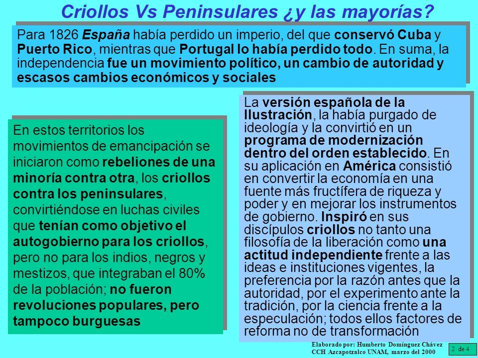 Para 1826 España había perdido un imperio, del que conservó Cuba y Puerto Rico, mientras que Portugal lo había perdido todo. En suma, la independencia