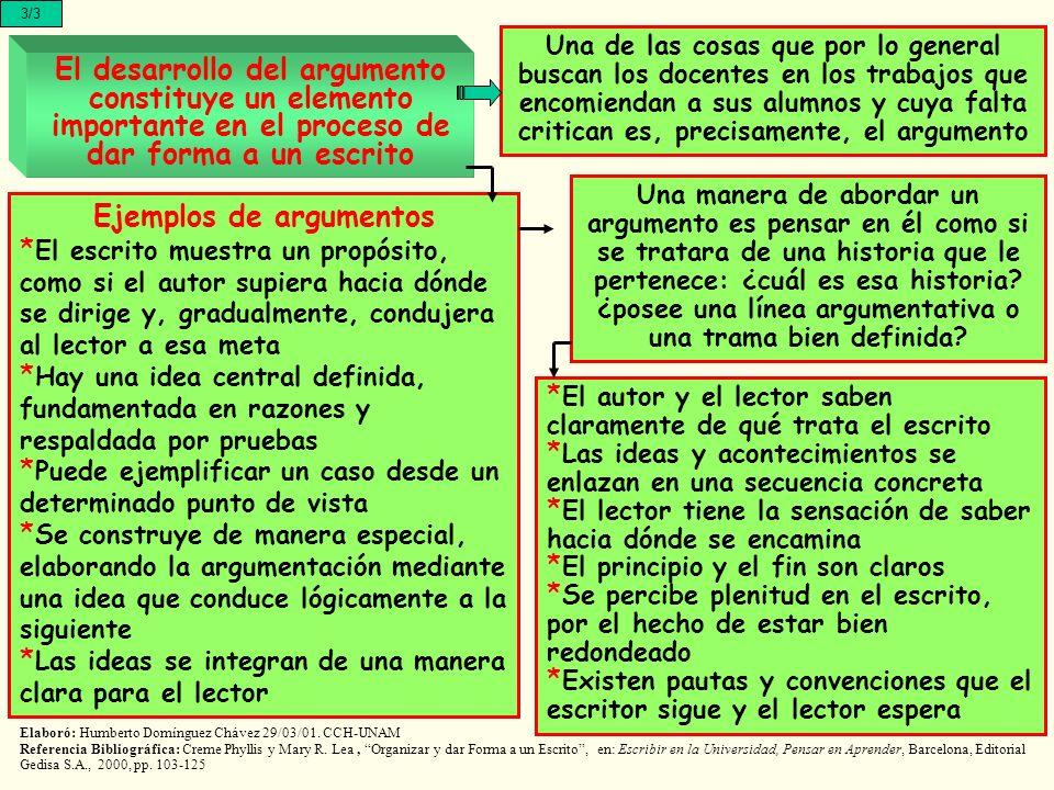 El desarrollo del argumento constituye un elemento importante en el proceso de dar forma a un escrito Elaboró: Humberto Domínguez Chávez 29/03/01.