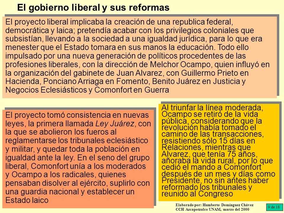 El proyecto liberal implicaba la creación de una republica federal, democrática y laica; pretendía acabar con los privilegios coloniales que subsistía