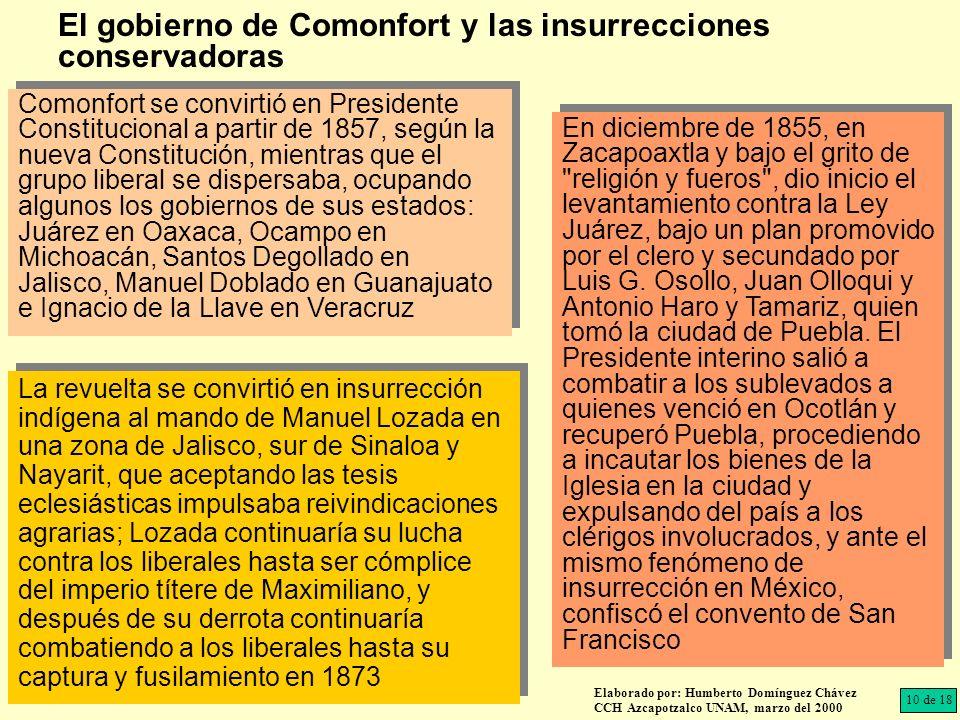 Comonfort se convirtió en Presidente Constitucional a partir de 1857, según la nueva Constitución, mientras que el grupo liberal se dispersaba, ocupan