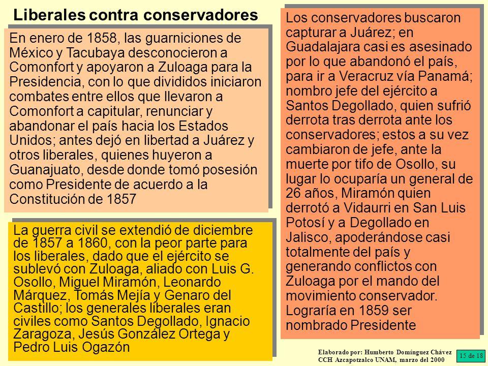 Los conservadores buscaron capturar a Juárez; en Guadalajara casi es asesinado por lo que abandonó el país, para ir a Veracruz vía Panamá; nombro jefe