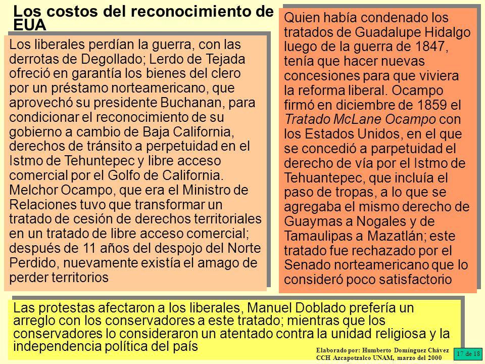 Las protestas afectaron a los liberales, Manuel Doblado prefería un arreglo con los conservadores a este tratado; mientras que los conservadores lo co