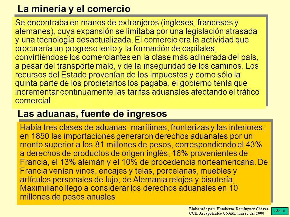 Elaborado por: Humberto Domínguez Chávez CCH Azcapotzalco UNAM, marzo del 2000 El 90% de las exportaciones se remitía a Inglaterra, Estados Unidos y Francia, siendo el producto principal era el peso de plata acuñado y los metales preciosos, que representaban en 1856, el 80% del monto de las exportaciones; también se exportaba vainilla, cochinilla, tabaco en hojas, madera de tinte y trabajos de ebanistería; calculándose que para 1856 México exportaba productos por un monto de 26 millones Debido a la quiebra el gobierno recurría a exigir préstamos forzosos, multiplicando la deuda interna; para 1851 ascendió a 53 millones, y la exterior a 76 millones.