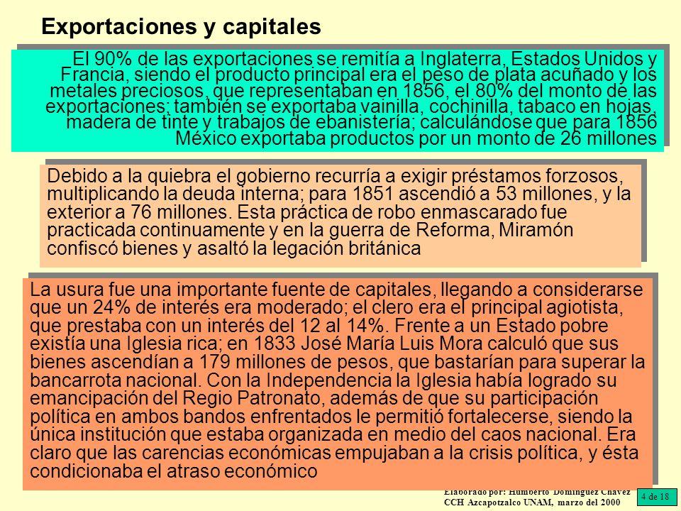 Elaborado por: Humberto Domínguez Chávez CCH Azcapotzalco UNAM, marzo del 2000 El 90% de las exportaciones se remitía a Inglaterra, Estados Unidos y F