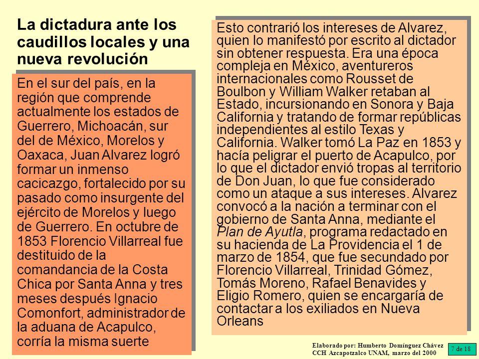 En Acapulco, Ignacio Comonfort acusó de dictador a Santa Anna y propuso la convocatoria a un Congreso Constituyente que estableciera instituciones libres y republicanas; para ello se designaría un gobierno interino.