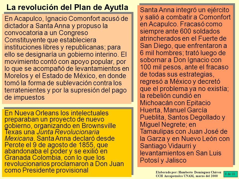 En Acapulco, Ignacio Comonfort acusó de dictador a Santa Anna y propuso la convocatoria a un Congreso Constituyente que estableciera instituciones lib