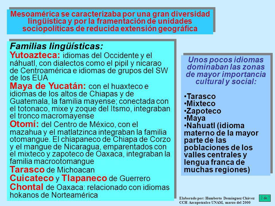 Mesoamérica se caracterizaba por una gran diversidad lingüística y por la framentación de unidades sociopolíticas de reducida extensión geográfica Fam
