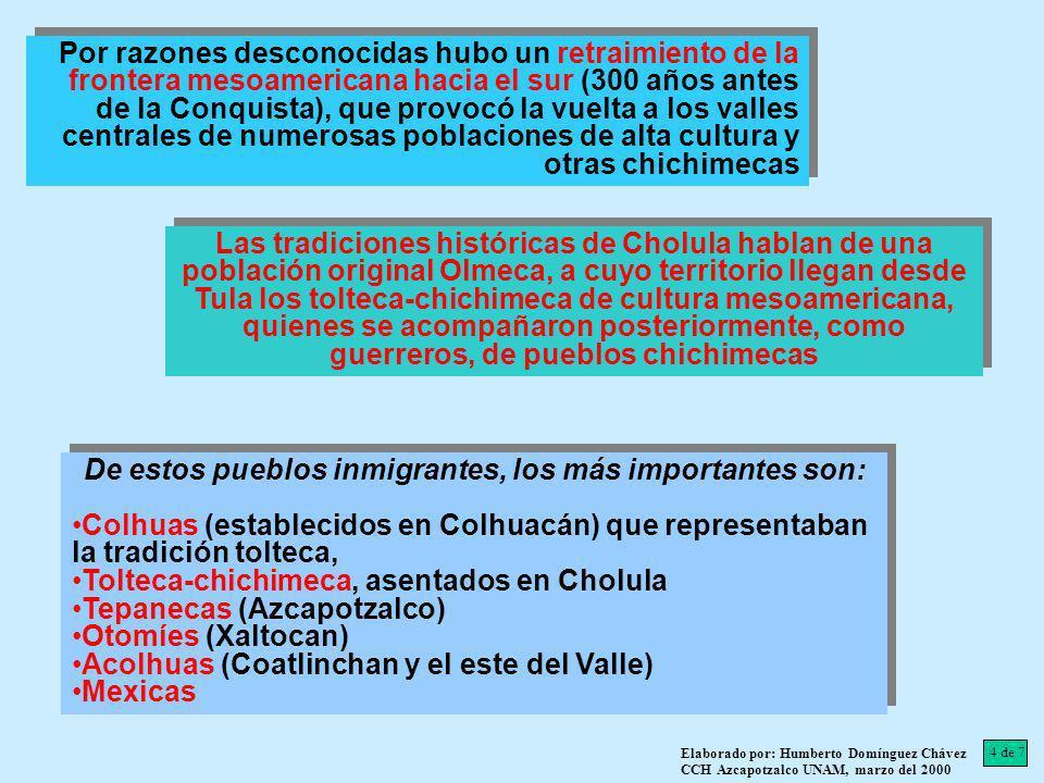 En el Valle de México los pobladores chichimecas fueron: Chichimecas de Xolotl (parte central y oriental del Valle) Totolimpaneca (zona de Chalco) Chichimecas traídos por los tolteca-chichimeca (región de Puebla, señoríos alrededor de Cholula: Totomihuacán, Cuauhtinchán, Tlaxcala y Huexotzinco) En el Valle de México los pobladores chichimecas fueron: Chichimecas de Xolotl (parte central y oriental del Valle) Totolimpaneca (zona de Chalco) Chichimecas traídos por los tolteca-chichimeca (región de Puebla, señoríos alrededor de Cholula: Totomihuacán, Cuauhtinchán, Tlaxcala y Huexotzinco) 5 de 7 Elaborado por: Humberto Domínguez Chávez CCH Azcapotzalco UNAM, marzo del 2000 Estos chichimecas especializados en la guerra, que acompañaron a los toltecas de la dispersión, pudieron establecerse como los linajes conquistadores Las principales unidades políticas establecidas por estas migraciones dieron lugar a: Colhuacán (dominaba la parte meridional del Valle Azcapotzalco (cabeza de los teoanecas, dominaba el oeste) Coatlinchan (capital de los acolhuas en el este) Las principales unidades políticas establecidas por estas migraciones dieron lugar a: Colhuacán (dominaba la parte meridional del Valle Azcapotzalco (cabeza de los teoanecas, dominaba el oeste) Coatlinchan (capital de los acolhuas en el este)