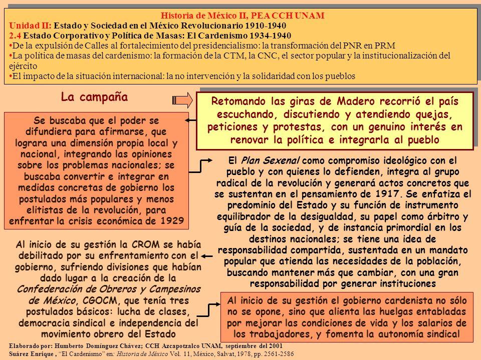 Elaborado por: Humberto Domínguez Chávez; CCH Azcapotzalco UNAM, septiembre del 2001 Suárez Enrique, El Cardenismo en: Historia de México Vol. 11, Méx