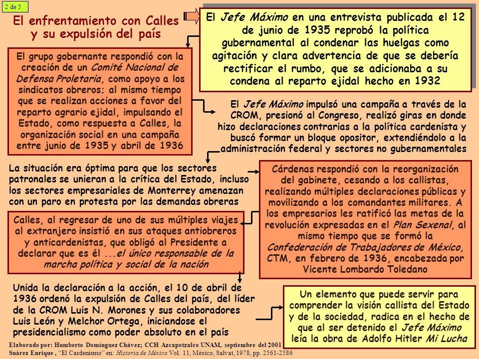 El enfrentamiento con Calles y su expulsión del país El Jefe Máximo en una entrevista publicada el 12 de junio de 1935 reprobó la política gubernament