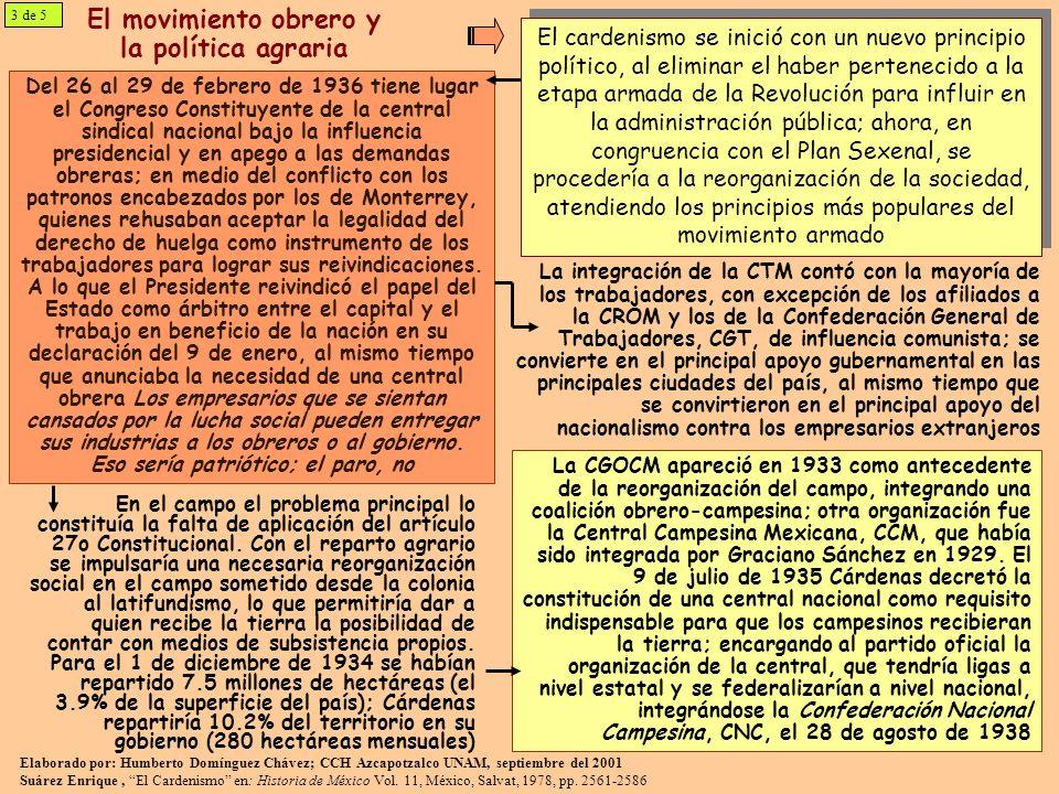 El movimiento obrero y la política agraria Del 26 al 29 de febrero de 1936 tiene lugar el Congreso Constituyente de la central sindical nacional bajo