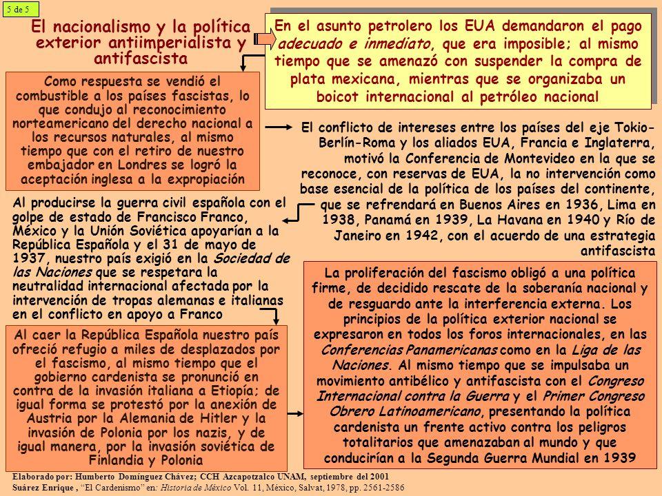 El nacionalismo y la política exterior antiimperialista y antifascista Como respuesta se vendió el combustible a los países fascistas, lo que condujo