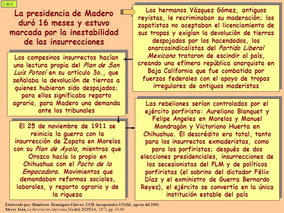 La contrarrevolución: el golpe militar huertista de 1913 y sus consecuencias En febrero de 1913 se inició el golpe de estado del ejército federal que desconoció el gobierno de Madero, con la insurrección del personal de la Escuela de Aspirantes, que por necesidades de los levantamientos había sido creada para formar oficiales; los líderes del movimiento fueron Félix Díaz y Bernardo Reyes, que son liberados de la prisión de Santiago Tlatelolco Mientras el Presidente se encontraba en el Castillo de Chapultepec, los insurrectos trataron de tomar el Palacio Nacional.