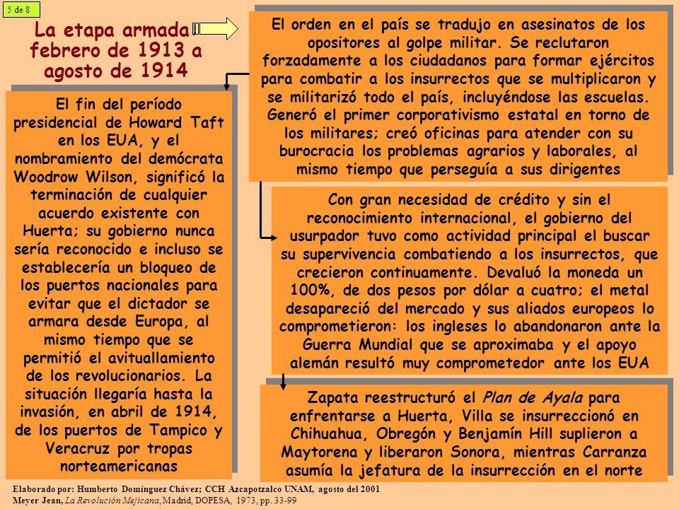 La etapa armada: febrero de 1913 a agosto de 1914 El orden en el país se tradujo en asesinatos de los opositores al golpe militar. Se reclutaron forza