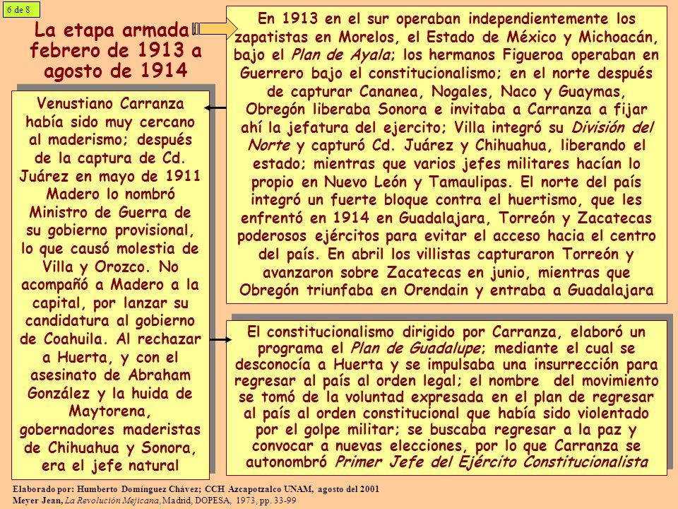 En agosto de 1914 se desintegró el huertismo y Obregón entró a la Cd.