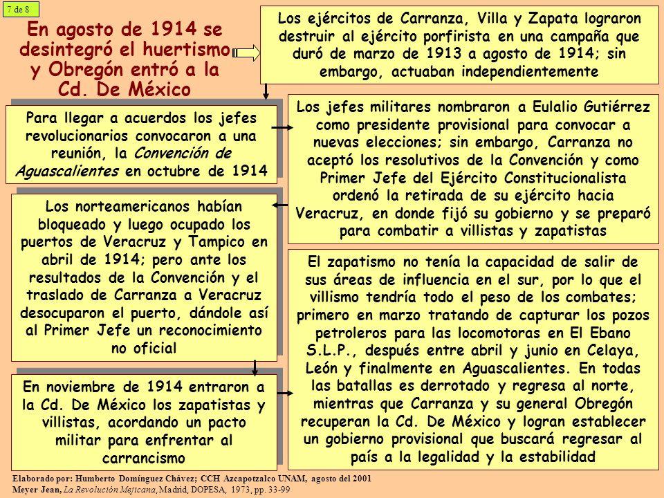En agosto de 1914 se desintegró el huertismo y Obregón entró a la Cd. De México Los ejércitos de Carranza, Villa y Zapata lograron destruir al ejércit