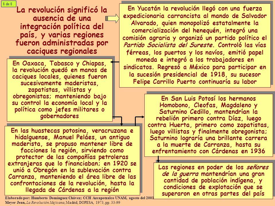 La revolución significó la ausencia de una integración política del país, y varias regiones fueron administradas por caciques regionales En Yucatán la