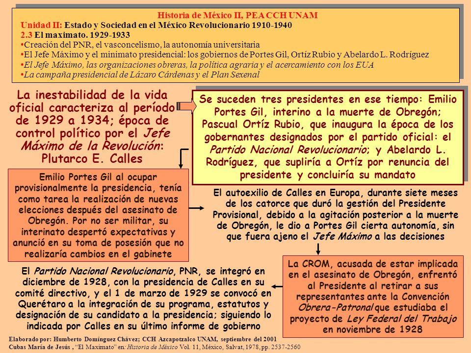 Elaborado por: Humberto Domínguez Chávez; CCH Azcapotzalco UNAM, septiembre del 2001 Cubas María de Jesús, El Maximato en: Historia de México Vol. 11,