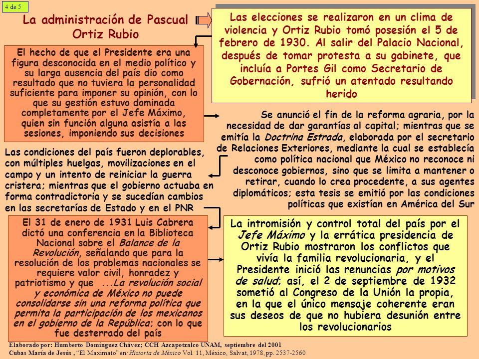 La administración de Pascual Ortiz Rubio El hecho de que el Presidente era una figura desconocida en el medio político y su larga ausencia del país di