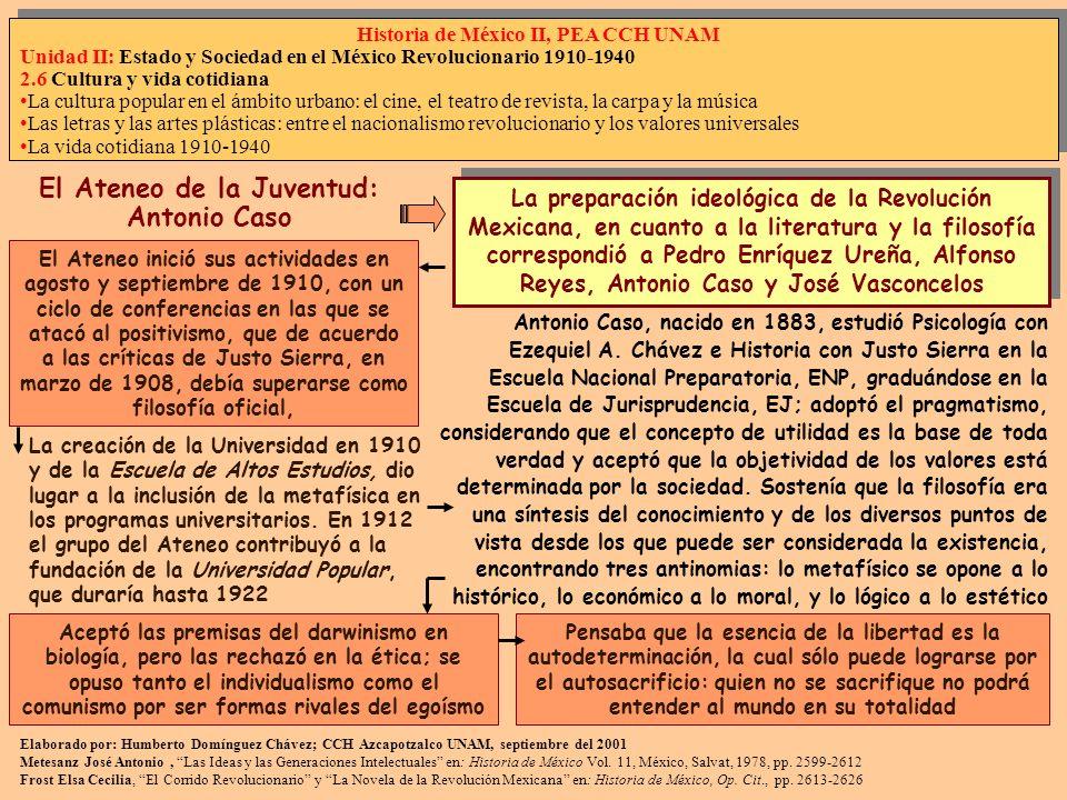 Elaborado por: Humberto Domínguez Chávez; CCH Azcapotzalco UNAM, septiembre del 2001 Metesanz José Antonio, Las Ideas y las Generaciones Intelectuales en: Historia de México Vol.