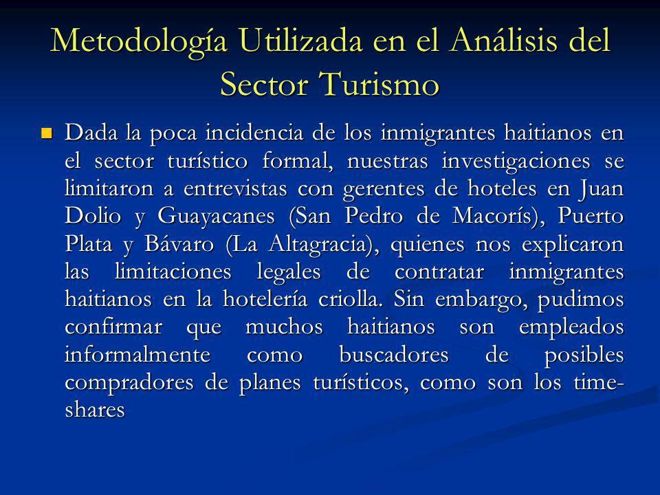 Metodología Utilizada en el Análisis del Sector Turismo Dada la poca incidencia de los inmigrantes haitianos en el sector turístico formal, nuestras i