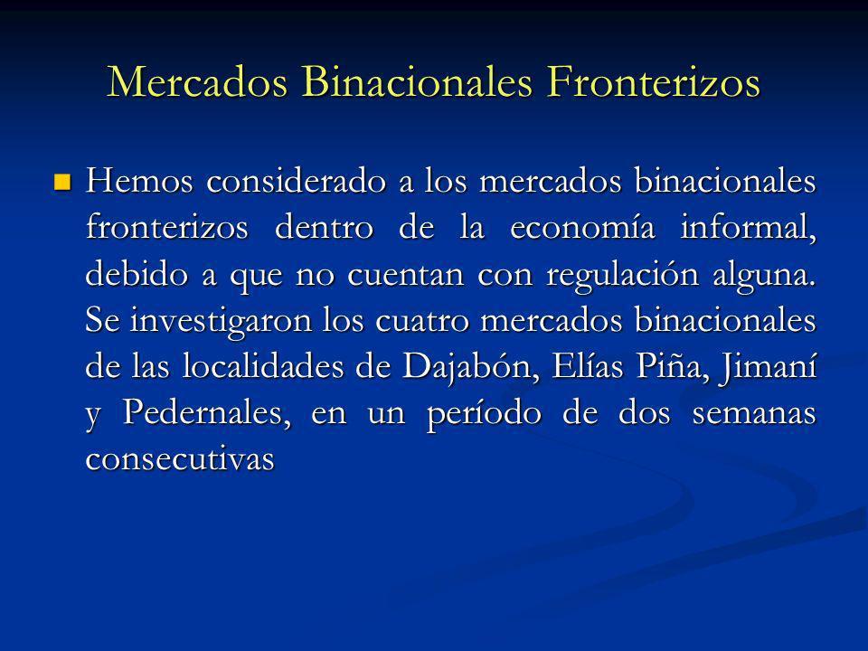 Mercados Binacionales Fronterizos Hemos considerado a los mercados binacionales fronterizos dentro de la economía informal, debido a que no cuentan con regulación alguna.